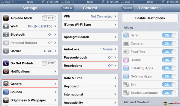 how to get past restrictions on iphone 5