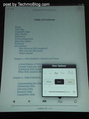 Kindle for iPad : ปรับแต่งขนาด และสีของตัวอักษรได้ รวมถึงการปรับแสงสว่างหน้าจอเพื่อถนอมสายตา