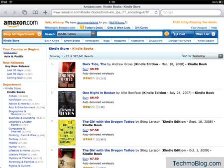 หน้าเว็บ amazon.com พร้อมรายการหนังสือ eBook