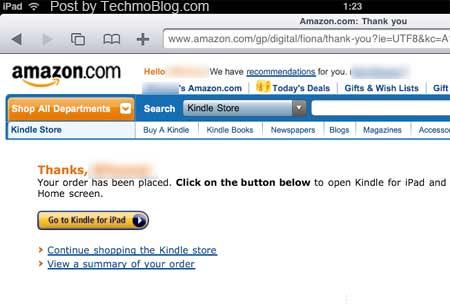 เมื่อชำระค่าหนังสือ eBook แล้วจะมีลิงค์กลับไปที่ App Kindle for iPad