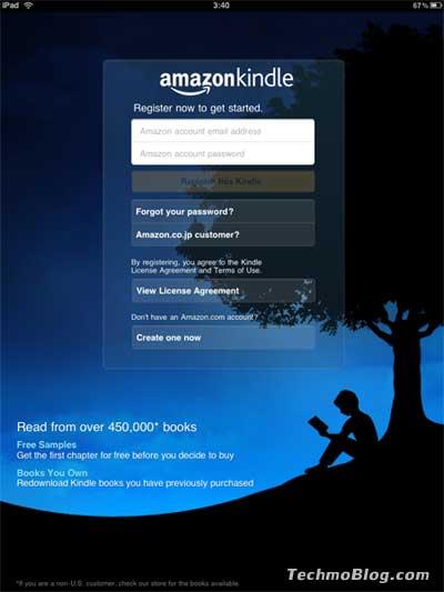 หน้าจอแรก Kindle for iPad ร้องขอ email และ Password สมาชิก amazon.com