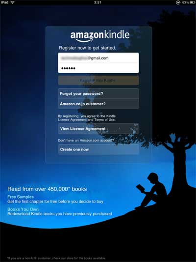 กรอก email และ password ที่สมัครเอาไว้ที่ amazon.com