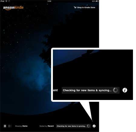 หน้า Home Screen ที่มุมขวาล่าง แสดง status การ download eBook ที่เราสั่งซื้อ