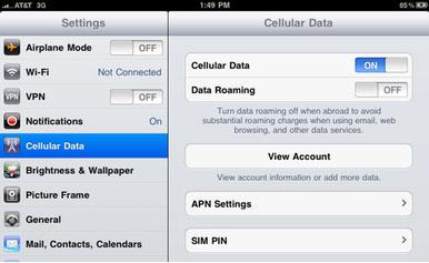 menu ใหม่เรื่อง Cellular Data