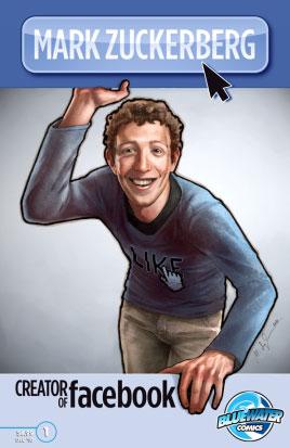 หน้าปกหนังสือมีหน้าของ Mark Zuckerberg ผู้ก่อตั้ง Facebook ในแบบการ์ตูน