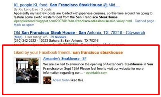 facebook โชว์ข้อมูลบนหน้าค้นหาของ Bing