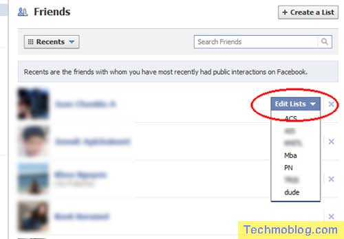 Facebook มีหน้าต่างปรับ Friends List ของเพื่อนใน Facebook ได้ครับ