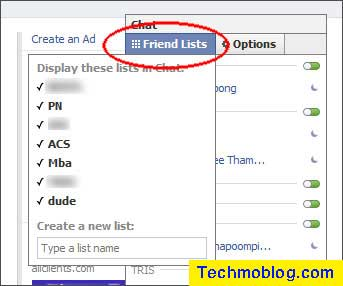 คลิ๊กที่ Chat (ของ Facebook) ที่มุมขวาล่างของจอ จะได้เมนูตามรูปครับ